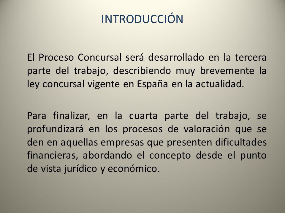 El Proceso Concursal será desarrollado en la tercera parte del trabajo, describiendo muy brevemente la ley concursal vigente en España en la actualida