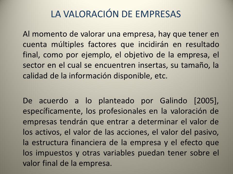 LA VALORACIÓN DE EMPRESAS La Valoración de Activos Generalmente la contabilidad en las empresas es la fuente de información más inmediata para determinar el valor de los diferentes activos con que cuenta una organización.