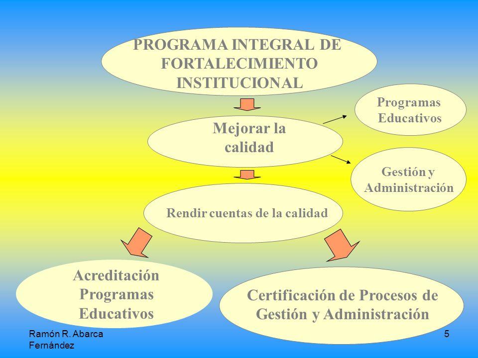 5 PROGRAMA INTEGRAL DE FORTALECIMIENTO INSTITUCIONAL Acreditación Programas Educativos Certificación de Procesos de Gestión y Administración Mejorar la calidad Rendir cuentas de la calidad Programas Educativos Gestión y Administración