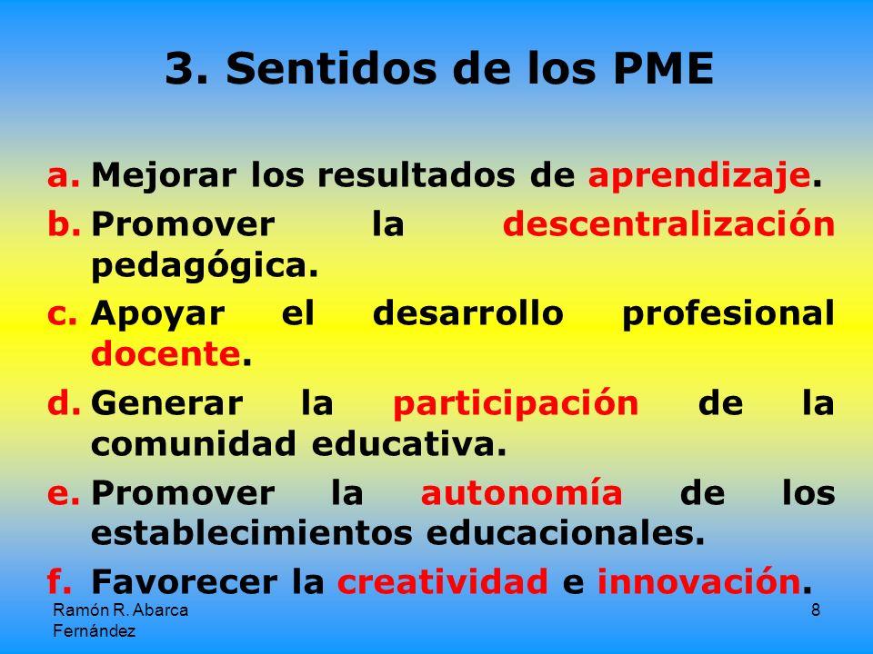 Ramón R.Abarca Fernández 8 3. Sentidos de los PME a.Mejorar los resultados de aprendizaje.