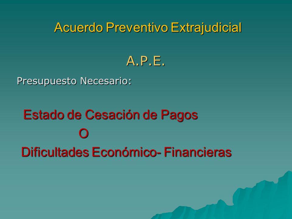 Acuerdo Preventivo Extrajudicial Acuerdo Preventivo Extrajudicial A.P.E. Presupuesto Necesario: Presupuesto Necesario: Estado de Cesación de Pagos Est