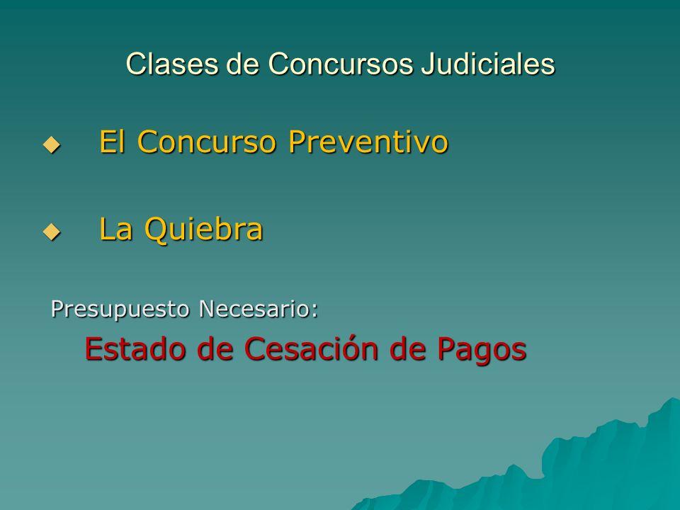 Clases de Concursos Judiciales E El Concurso Preventivo L La Quiebra Presupuesto Necesario: Estado de Cesación de Pagos