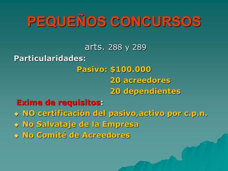 PEQUEÑOS CONCURSOS arts. 288 y 289 Particularidades: Pasivo: $100.000 20 acreedores 20 dependientes Exime de requisitos: NO certificación del pasivo,a