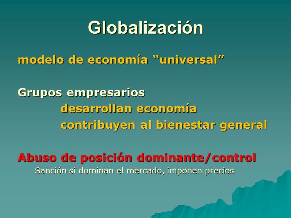 Globalización modelo de economía universal Grupos empresarios desarrollan economía desarrollan economía contribuyen al bienestar general contribuyen a