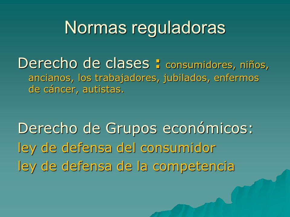 Normas reguladoras Derecho de clases : consumidores, niños, ancianos, los trabajadores, jubilados, enfermos de cáncer, autistas. Derecho de Grupos eco
