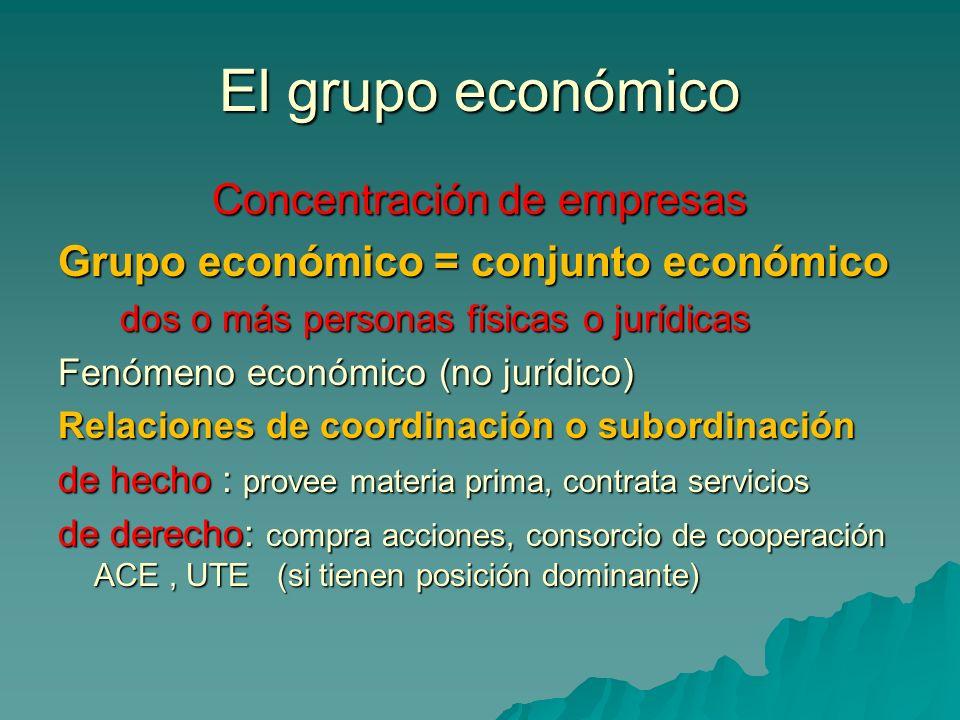 El grupo económico Concentración de empresas Grupo económico = conjunto económico dos o más personas físicas o jurídicas dos o más personas físicas o