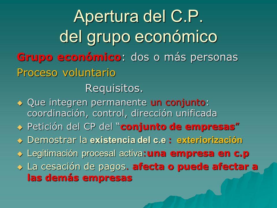 Apertura del C.P. del grupo económico Grupo económico: dos o más personas Proceso voluntario Requisitos. Requisitos. Que integren permanente un conjun