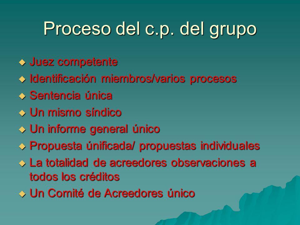 Proceso del c.p. del grupo Juez competente Juez competente Identificación miembros/varios procesos Identificación miembros/varios procesos Sentencia ú