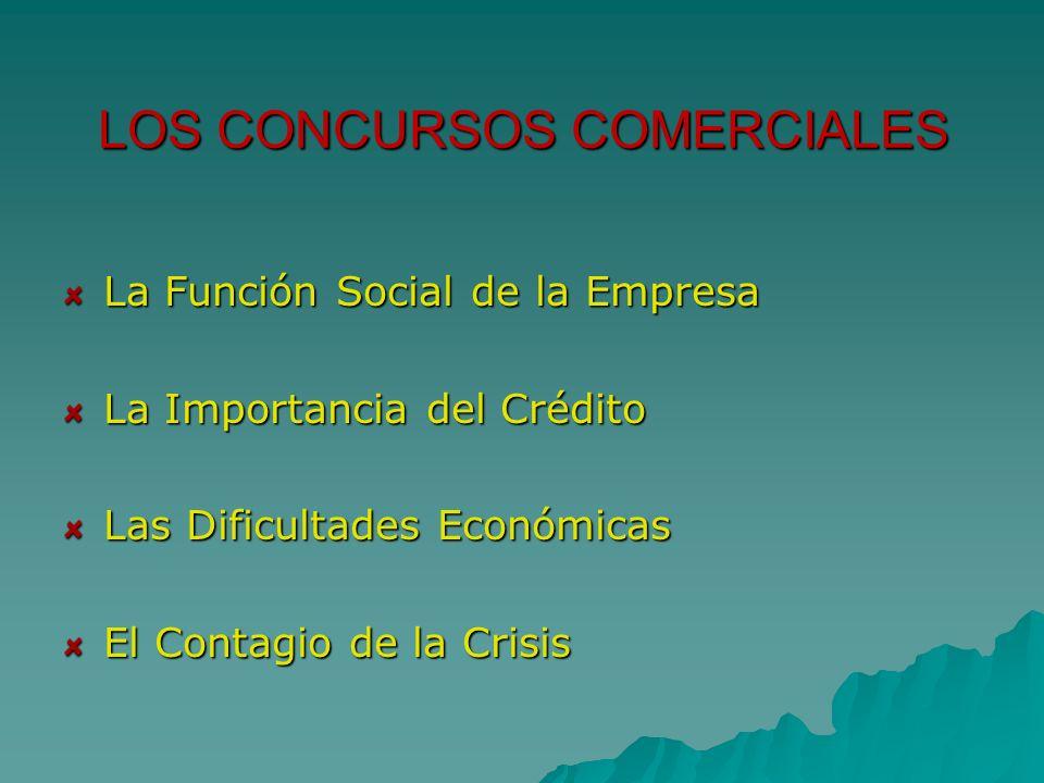 LOS CONCURSOS COMERCIALES La Función Social de la Empresa La Importancia del Crédito Las Dificultades Económicas El Contagio de la Crisis