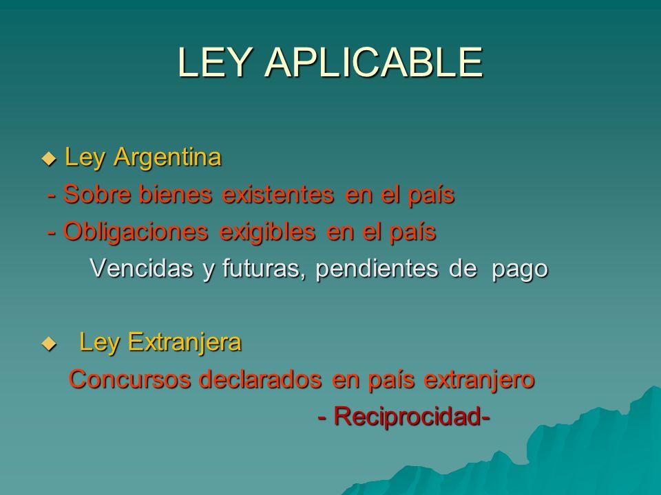 LEY APLICABLE Ley Argentina Ley Argentina - Sobre bienes existentes en el país - Sobre bienes existentes en el país - Obligaciones exigibles en el paí
