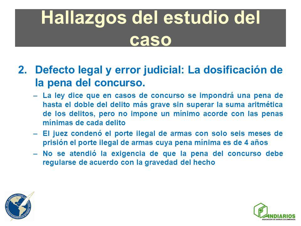 Hallazgos del estudio del caso 2.Defecto legal y error judicial: La dosificación de la pena del concurso. –La ley dice que en casos de concurso se imp