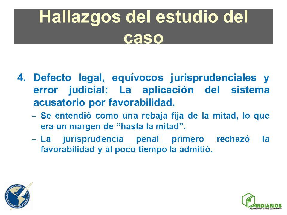 Hallazgos del estudio del caso 4.Defecto legal, equívocos jurisprudenciales y error judicial: La aplicación del sistema acusatorio por favorabilidad.