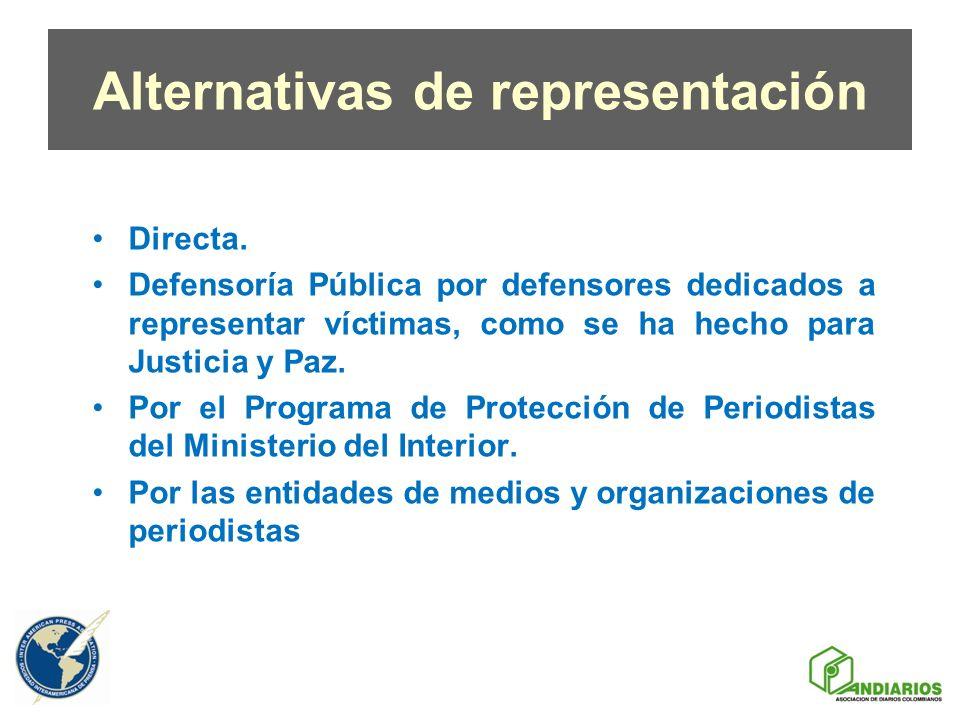 Alternativas de representación Directa. Defensoría Pública por defensores dedicados a representar víctimas, como se ha hecho para Justicia y Paz. Por