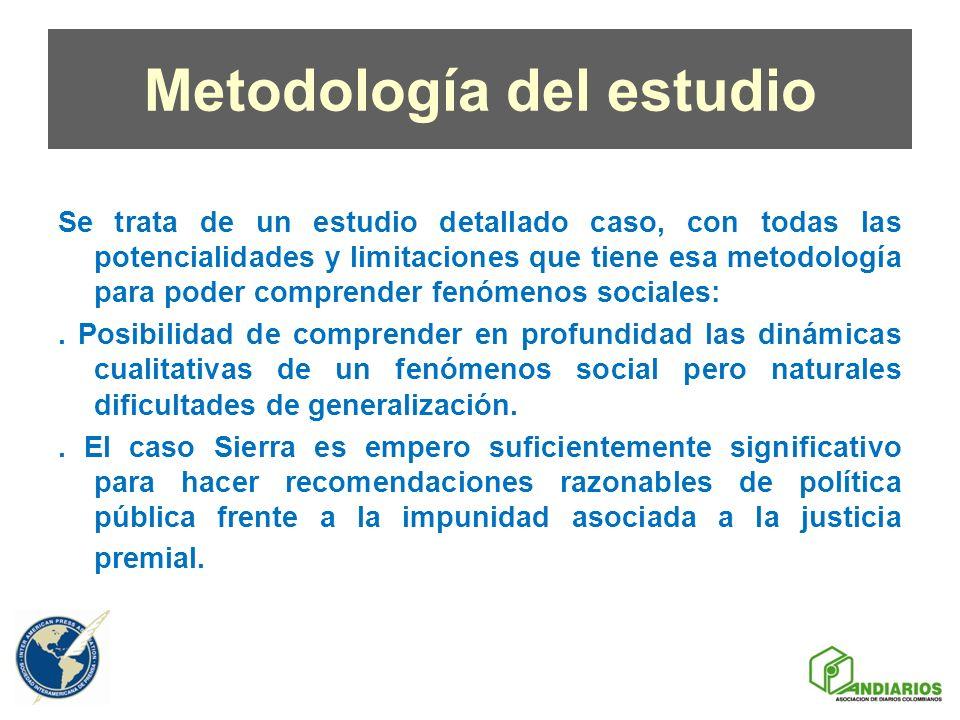 Metodología del estudio Se trata de un estudio detallado caso, con todas las potencialidades y limitaciones que tiene esa metodología para poder compr