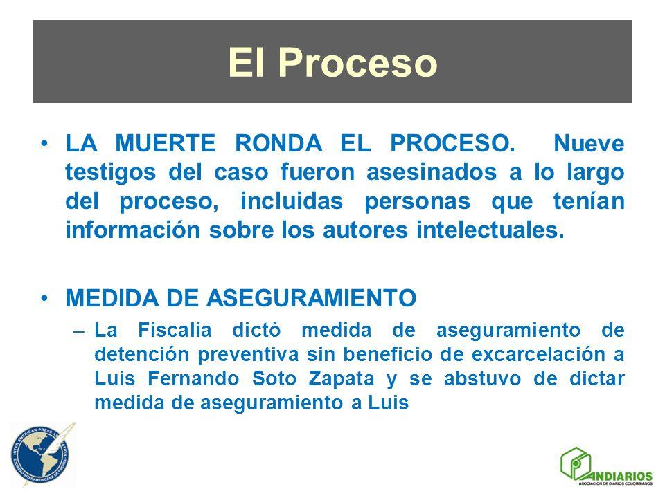 El Proceso LA MUERTE RONDA EL PROCESO. Nueve testigos del caso fueron asesinados a lo largo del proceso, incluidas personas que tenían información sob