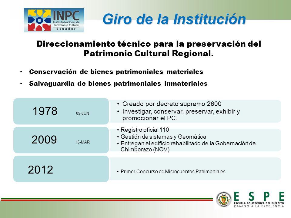 Giro de la Institución Direccionamiento técnico para la preservación del Patrimonio Cultural Regional. Conservación de bienes patrimoniales materiales