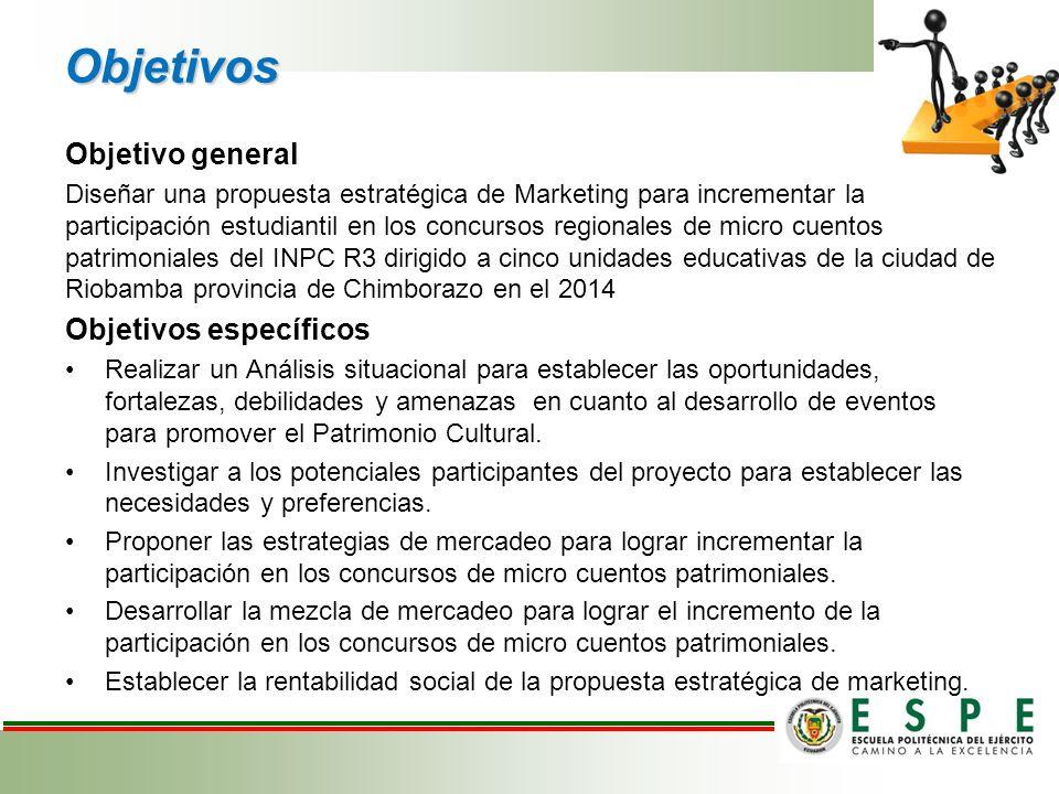 Objetivo general Diseñar una propuesta estratégica de Marketing para incrementar la participación estudiantil en los concursos regionales de micro cue