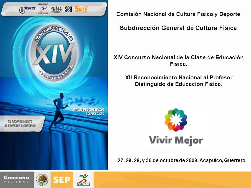 Comisión Nacional de Cultura Física y Deporte Subdirección General de Cultura Física XIV Concurso Nacional de la Clase de Educación Física. XII Recono