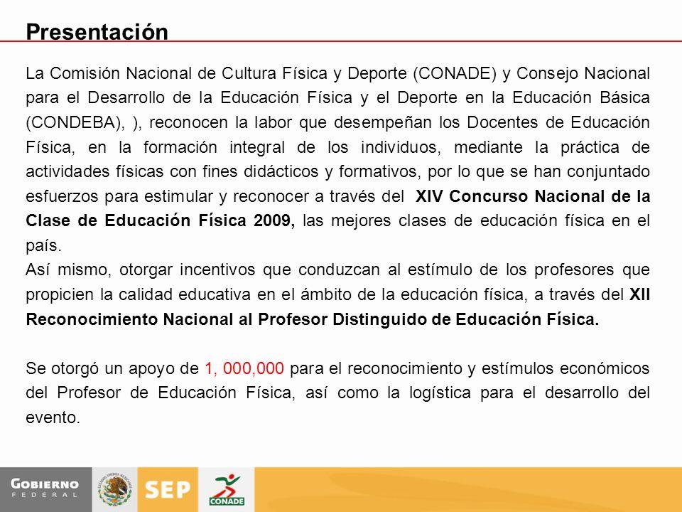 Presentación La Comisión Nacional de Cultura Física y Deporte (CONADE) y Consejo Nacional para el Desarrollo de la Educación Física y el Deporte en la