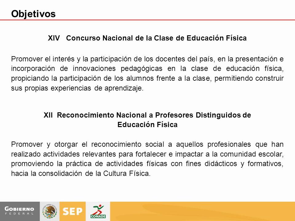 XIV Concurso Nacional de la Clase de Educación Física Promover el interés y la participación de los docentes del país, en la presentación e incorporac