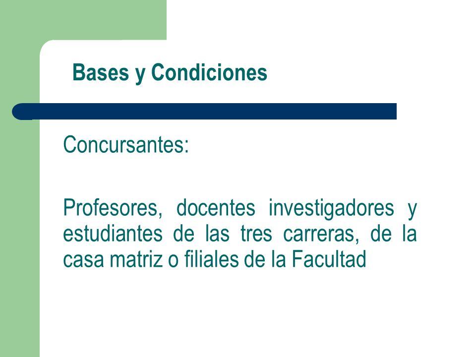 Bases y Condiciones Concursantes: Profesores, docentes investigadores y estudiantes de las tres carreras, de la casa matriz o filiales de la Facultad