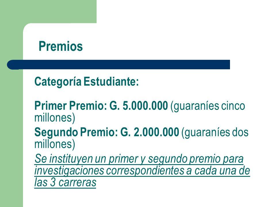 Premios Categoría Estudiante: Primer Premio: G.