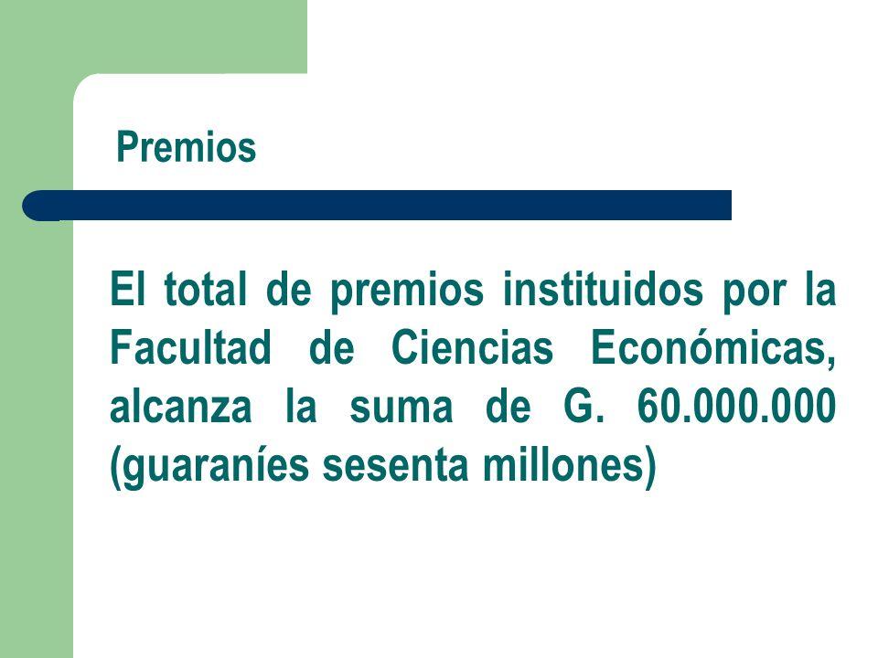 Premios El total de premios instituidos por la Facultad de Ciencias Económicas, alcanza la suma de G.
