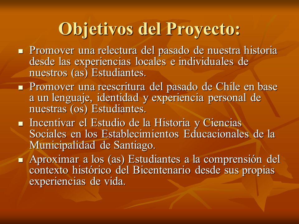 Objetivos del Proyecto: Promover una relectura del pasado de nuestra historia desde las experiencias locales e individuales de nuestros (as) Estudiant