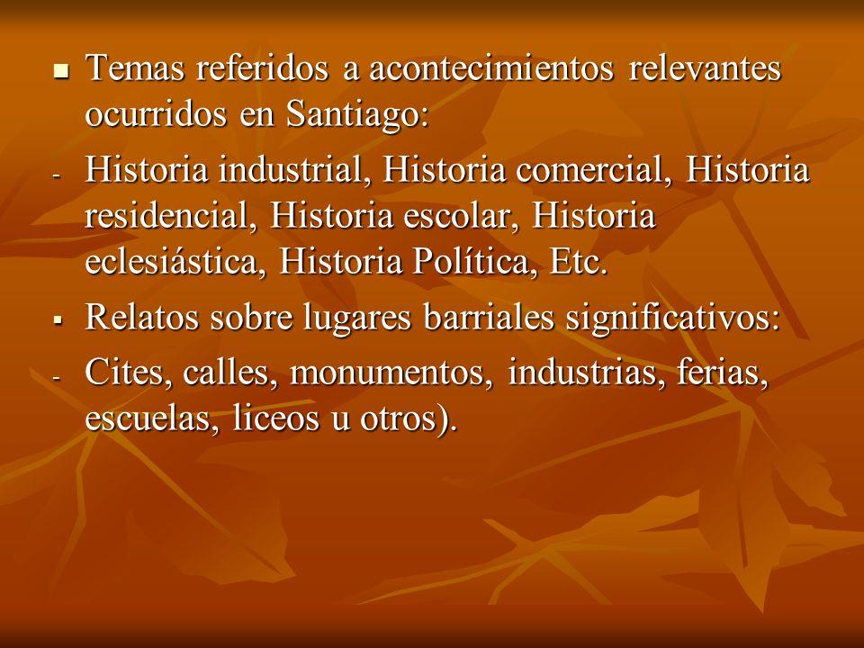 Temas referidos a acontecimientos relevantes ocurridos en Santiago: Temas referidos a acontecimientos relevantes ocurridos en Santiago: - Historia ind