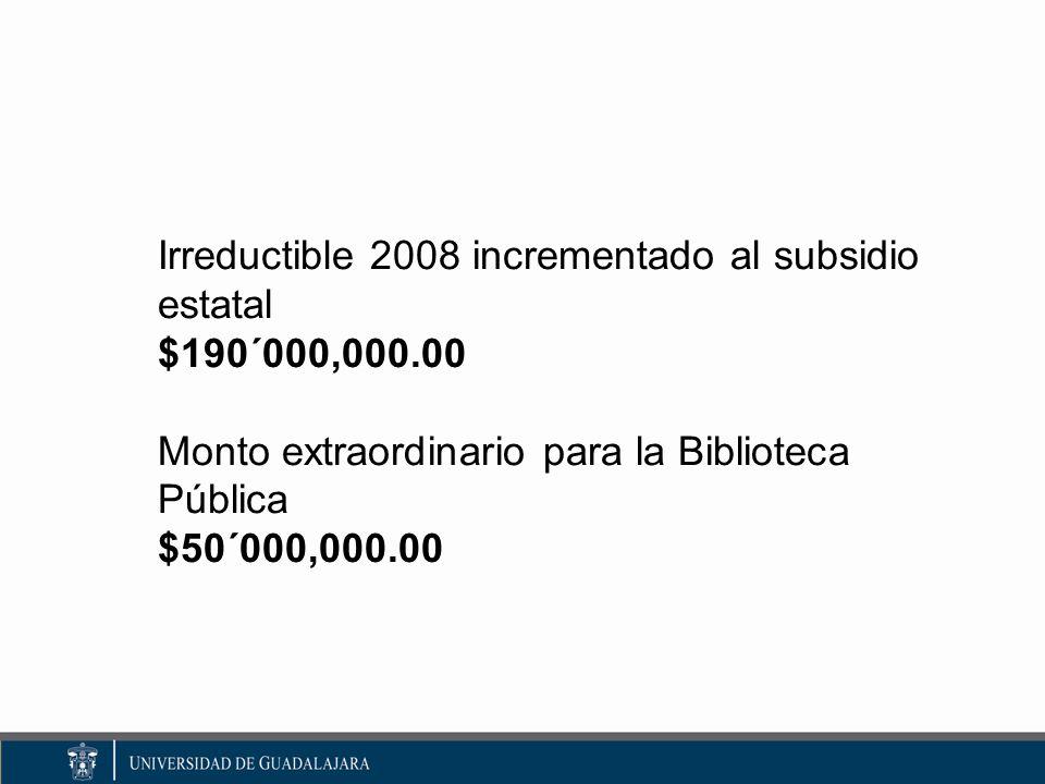Irreductible 2008 incrementado al subsidio estatal $190´000,000.00 Monto extraordinario para la Biblioteca Pública $50´000,000.00