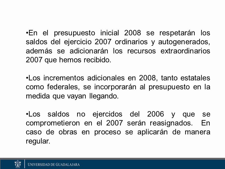 En el presupuesto inicial 2008 se respetarán los saldos del ejercicio 2007 ordinarios y autogenerados, además se adicionarán los recursos extraordinarios 2007 que hemos recibido.