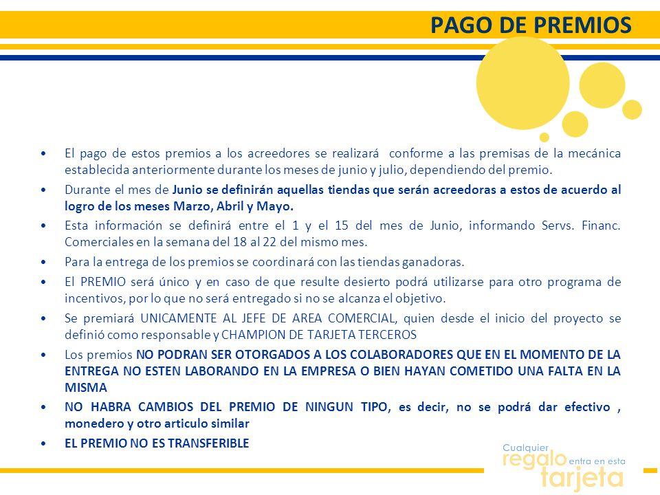 PAGO DE PREMIOS El pago de estos premios a los acreedores se realizará conforme a las premisas de la mecánica establecida anteriormente durante los me