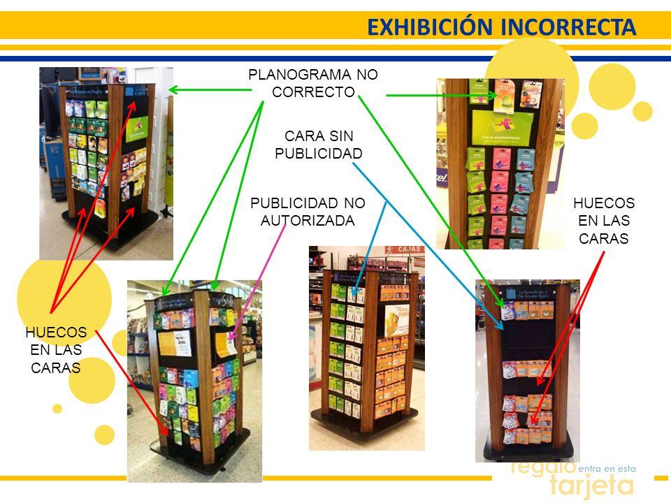EXHIBICIÓN INCORRECTA PLANOGRAMA NO CORRECTO CARA SIN PUBLICIDAD PUBLICIDAD NO AUTORIZADA HUECOS EN LAS CARAS