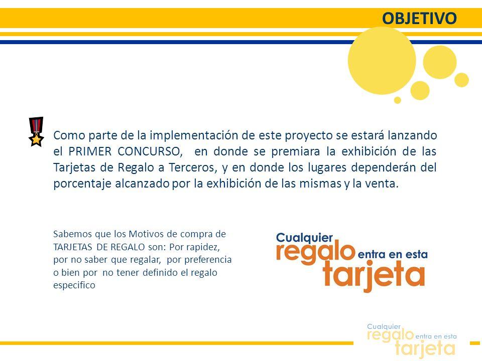 OBJETIVO Como parte de la implementación de este proyecto se estará lanzando el PRIMER CONCURSO, en donde se premiara la exhibición de las Tarjetas de