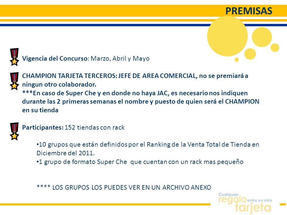 PREMISAS Vigencia del Concurso: Marzo, Abril y Mayo CHAMPION TARJETA TERCEROS: JEFE DE AREA COMERCIAL, no se premiará a ningun otro colaborador. ***En
