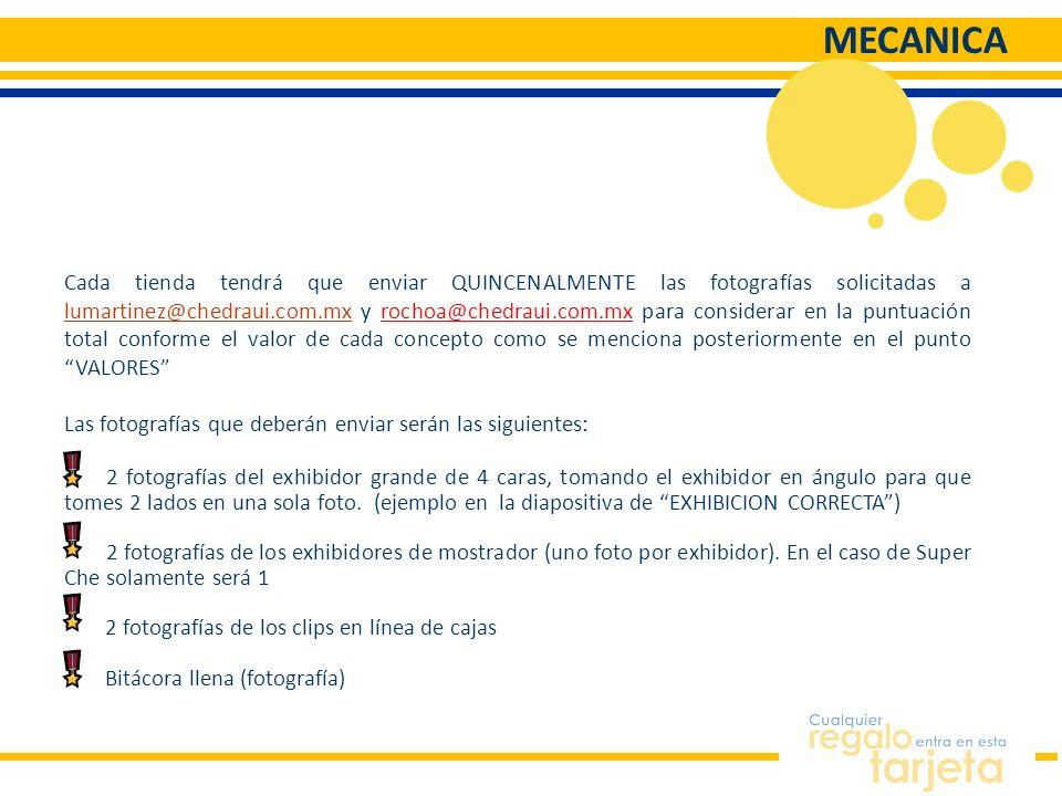 MECANICA Cada tienda tendrá que enviar QUINCENALMENTE las fotografías solicitadas a lumartinez@chedraui.com.mx y rochoa@chedraui.com.mx para considera