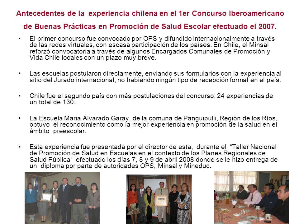 Antecedentes de la experiencia chilena en el 1er Concurso Iberoamericano de Buenas Prácticas en Promoción de Salud Escolar efectuado el 2007. El prime