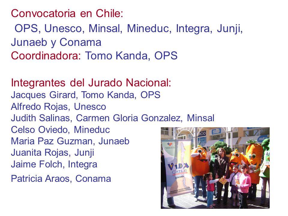 Convocatoria en Chile: OPS, Unesco, Minsal, Mineduc, Integra, Junji, Junaeb y Conama Coordinadora: Tomo Kanda, OPS Integrantes del Jurado Nacional: Ja