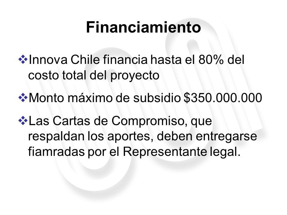 Financiamiento Innova Chile financia hasta el 80% del costo total del proyecto Monto máximo de subsidio $350.000.000 Las Cartas de Compromiso, que res
