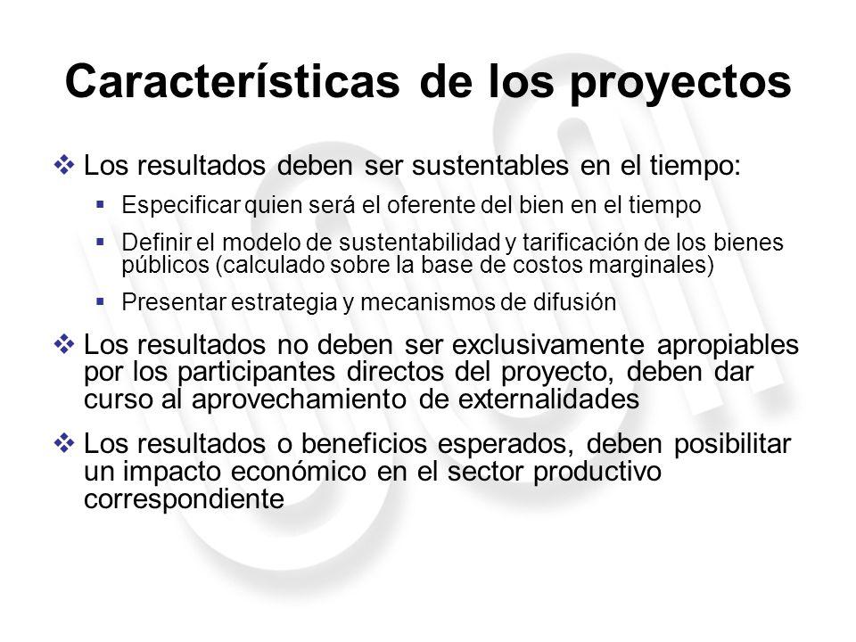 Características de los proyectos Los resultados deben ser sustentables en el tiempo: Especificar quien será el oferente del bien en el tiempo Definir