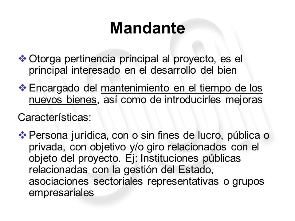 Interesado Se asocian al Mandante con el objeto de dar mayor pertinencia al proyecto.