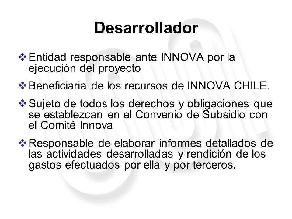 Desarrollador Entidad responsable ante INNOVA por la ejecución del proyecto Beneficiaria de los recursos de INNOVA CHILE. Sujeto de todos los derechos