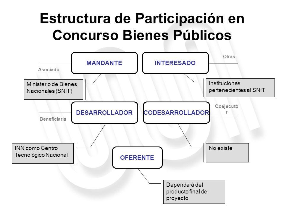 Estructura de Participación en Concurso Bienes Públicos MANDANTEINTERESADO OFERENTE DESARROLLADORCODESARROLLADOR Asociado Beneficiaria Coejecuto r Otr