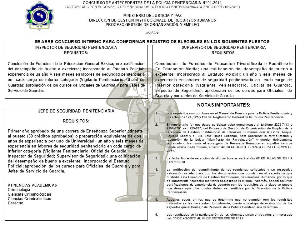 CONCURSO DE ANTECEDENTES DE LA POLICIA PENITENCIARIA Nº 01-2011 (AUTORIZADO POR EL CONSEJO DE PERSONAL DE LA POLICIA PENITENCIARIA-ACUERDO CPPP-161-2011) MINISTERIO DE JUSTICIA Y PAZ DIRECCION DE GESTION INSTITUCIONALD DE RECURSOS HUMANOS PROCESO GESTION DE ORGANIZACIÓN Y EMPLEO AVISAN: SE ABRE CONCURSO INTERNO PARA CONFORMAR REGISTRO DE ELEGIBLES EN LOS SIGUIENTES PUESTOS : SUPERVISOR DE SEGURIDAD PENITENCIARIA REQUISITOS: Conclusión de Estudios de Educación Diversificada o Bachillerato En Educación Media; una calificación del desempeño de bueno a excelente; incorporado al Estatuto Policial; un año y seis meses de experiencia en labores de seguridad penitenciaria en cada cargo de inferior categoría (Vigilante Penitenciario, Oficial de Guardia, Inspector de Seguridad); aprobación de los cursos para Oficiales de Guardia y para Jefes de Servicio de Guardia JEFE DE SEGURIDAD PENITENCIARIA REQUISITOS: Primer año aprobado de una carrera de Enseñanza Superior atinente al puesto (30 créditos aprobados) o preparación equivalente de dos años de experiencia por uno de Universidad; un año y seis meses de experiencia en labores de seguridad penitenciaria en cada cargo de inferior categoría (Vigilante Penitenciario, Oficial de Guardia, Inspector de Seguridad; Supervisor de Seguridad); una calificación del desempeño de bueno a excelente; incorporado al Estatuto Policial; aprobación de los cursos para Oficiales de Guardia y para Jefes de Servicio de Guardia.