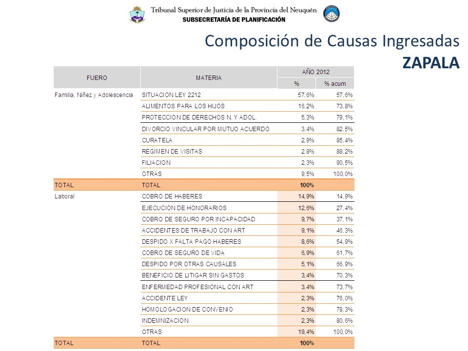 Composición de Causas Ingresadas ZAPALA