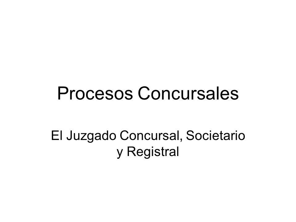 Procesos Concursales El Juzgado Concursal, Societario y Registral