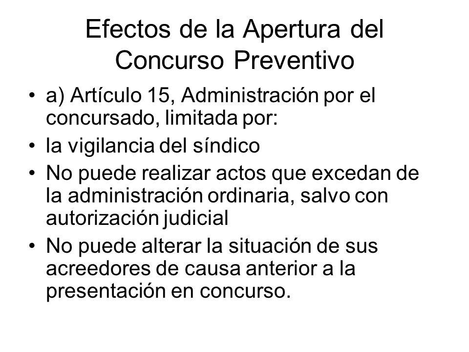 Efectos de la Apertura del Concurso Preventivo a) Artículo 15, Administración por el concursado, limitada por: la vigilancia del síndico No puede real