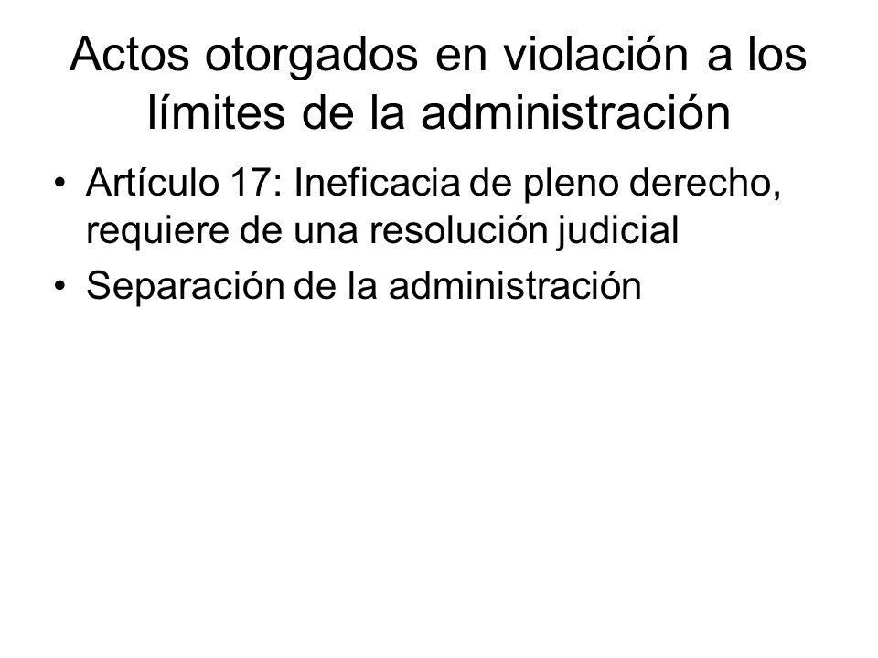 Actos otorgados en violación a los límites de la administración Artículo 17: Ineficacia de pleno derecho, requiere de una resolución judicial Separaci
