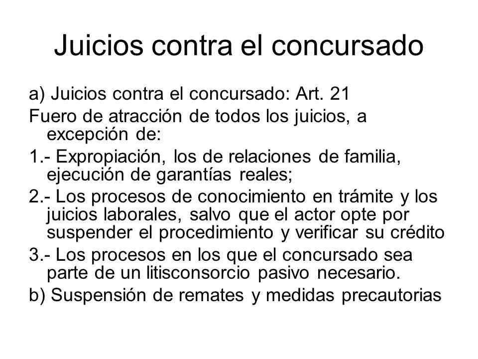 Juicios contra el concursado a) Juicios contra el concursado: Art. 21 Fuero de atracción de todos los juicios, a excepción de: 1.- Expropiación, los d