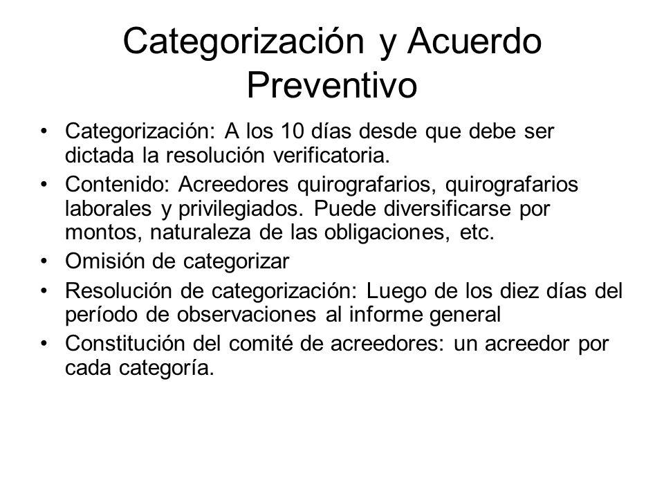 Categorización y Acuerdo Preventivo Categorización: A los 10 días desde que debe ser dictada la resolución verificatoria. Contenido: Acreedores quirog